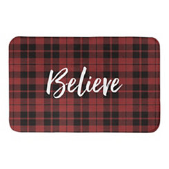 Red and Black Plaid Believe Bath Mat