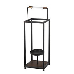 Black Metal Open Frame Lantern, 17 in.