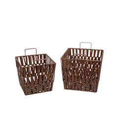 Resin Wicker Baskets, Set of 2