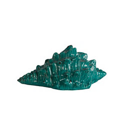 Turquoise Ceramic Spiked Shell Statue