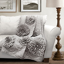 Floral Gray Throw Blanket