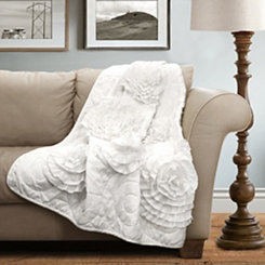 Floral White Throw Blanket