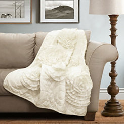 Floral Ivory Throw Blanket