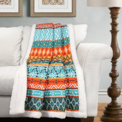 Colorful Striped Sherpa Throw Blanket