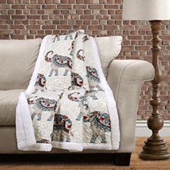 Elephant Sherpa Throw Blanket