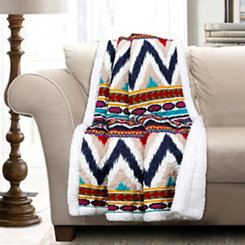 Navy Striped Sherpa Throw Blanket