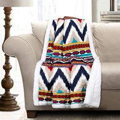 Navy Striped Sherpa Throw Blanket