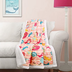 Pink Mermaid Sherpa Throw Blanket