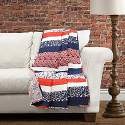 Geometric Navy and Orange Striped Throw Blanket