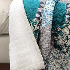 Turquoise Sherpa Throw Blanket