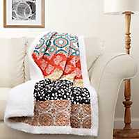 Turquoise and Orange Sherpa Throw Blanket