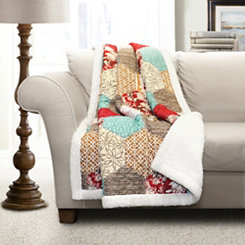 Red Patchwork Sherpa Throw Blanket