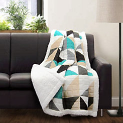 Geometric Turquoise Sherpa Throw Blanket