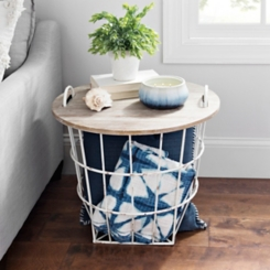 Industrial Cream Wire and Wood Basket Side Table