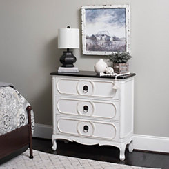 Olivia White and Black 3-Drawer Chest