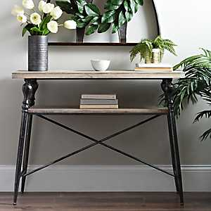 Industrial Fir Wood and Iron Console Table