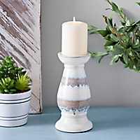 Ceramic Stripe Candle Holder, 8.5 in.
