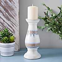 Ceramic Stripe Candle Holder, 10.75 in.