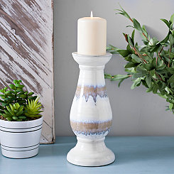 Ceramic Stripe Candle Holder, 10.75 in.