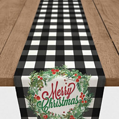 Merry Christmas Black Buffalo Check Table Runner