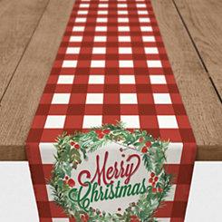 Merry Christmas Red Buffalo Check Table Runner