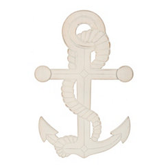 Weathered White Carved Anchor Wall Plaque