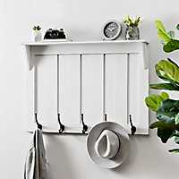 White Beadboard Hooks with Shelf Wall Plaque