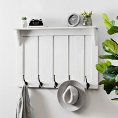 White Beadboard Hooks with Shelf Wall Plaque