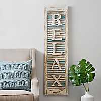 Relax Distressed Wood Shutter Panel Wall Plaque