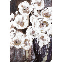 Gray Floral Bouquet Canvas Art Print