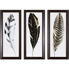 Watercolor Feather Framed Art Prints, Set of 3