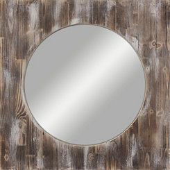 Square Reclaimed Wood Wall Mirror