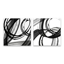 Black and White Pop Canvas Art Prints, Set of 2
