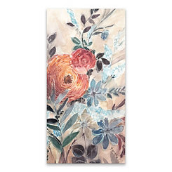 White Line Floral Canvas Art Print