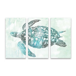 Soft Aqua Sea Turtle Canvas Art Prints, Set of 3