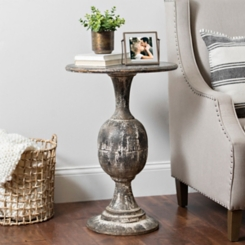 Distressed Round Black Pedestal Accent Table
