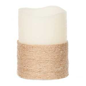 LED Rope Wrapped Candle, 4 in.