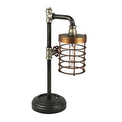 Metal and Wood Industrial Pipe LED Cage Table Lamp
