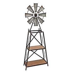 2-Tier Windmill Wood and Metal Shelf