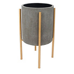 Round Gray Planter on Gold Stand