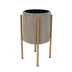 Round Gray Planter on Gold Stand, 19 in.