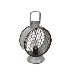 Silver Tin LED Miners Lantern, 12 in.