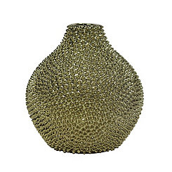 Gold Spikes Ceramic Vase, 10 in.