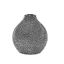 Silver Spikes Ceramic Vase, 8 in.