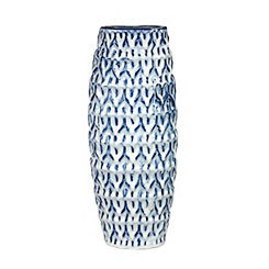 Blue and White Dimpled Cylinder Vase