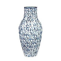 Blue and White Wavy Diamond Vase
