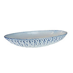 Blue and White Dimpled Ceramic Bowl