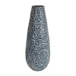 Blue and Ivory Decorative Ceramic Vase, 17.5 in.
