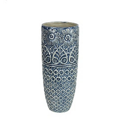 Blue and Ivory Decorative Ceramic Vase, 15.25 in.