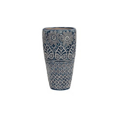 Slender Blue and Ivory Decorative Ceramic Vase